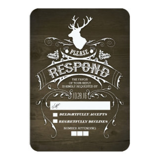 Rustic Deer Wooden Wedding RSVP Cards