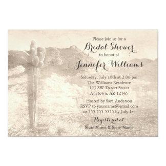 Rustic Desert Cactus Tan Bridal Shower 5x7 Paper Invitation Card