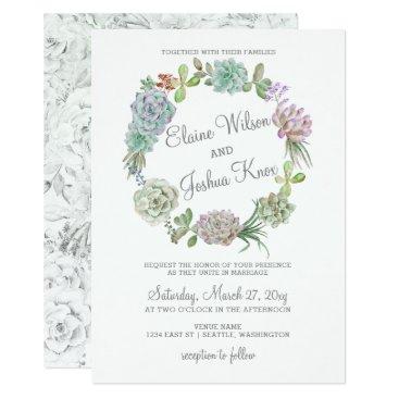 Rustic Desert Succulent Wreath Wedding Invitation