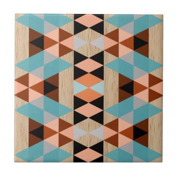 Aztec Themed Rustic Diamond Squares Triangles Wood Art Pattern Ceramic Tile
