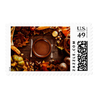 Rustic Dinner Table Thanksgiving Postage Stamps