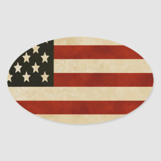 Rustic Distressed American Flag Oval Sticker