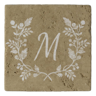 Rustic Distressed Beige Floral Wreath Personalized Trivet