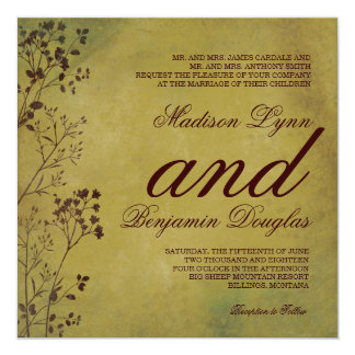 Rustic Distressed Foliage Wedding Invitations