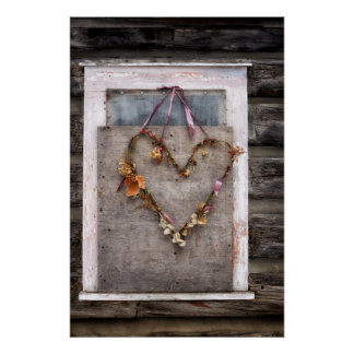 Rustic Distressed Heart Wreath on Old Wood Board Poster
