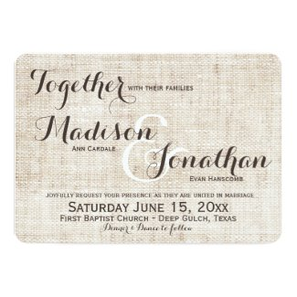 Rustic Distressed Linen Design Wedding Invitations