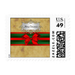 Rustic Distressed, Red & Green Ribbon Christmas Postage Stamp