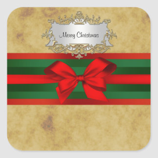 Rustic Distressed, Red & Green Ribbon Christmas Square Sticker