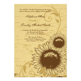 Rustic distressed sunflower wedding invite