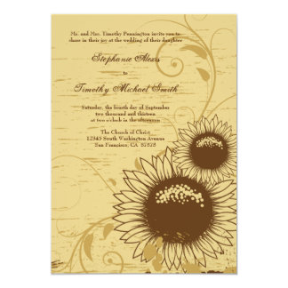Rustic distressed sunflower wedding invite
