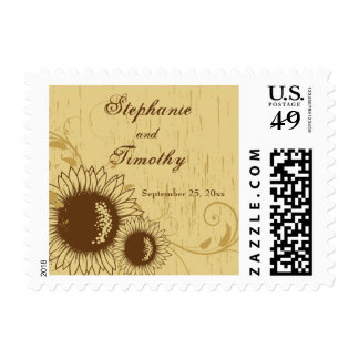 Rustic distressed sunflower wedding stamps