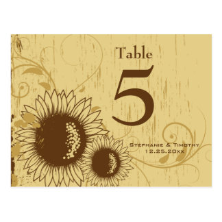 Rustic distressed sunflower wedding table number postcard