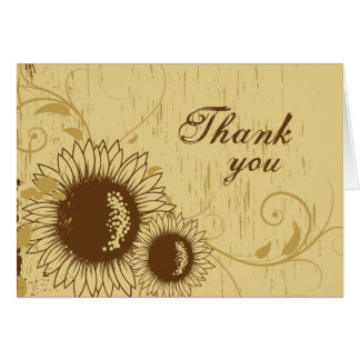 Rustic distressed sunflower wedding thank you card