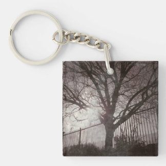 Rustic Distressed Tree Silhouette Grunge Keychain