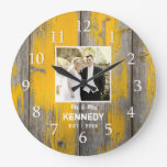 Rustic Distressed Wood Farmhouse Wedding Photo Large Clock