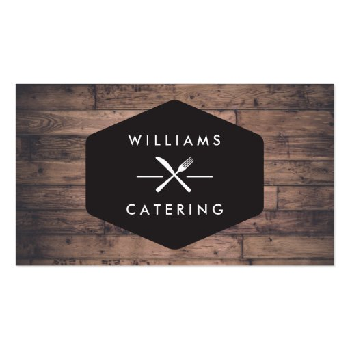 Rustic Distressed Wood Fork Knife Intersect Logo 2 Business Card Template
