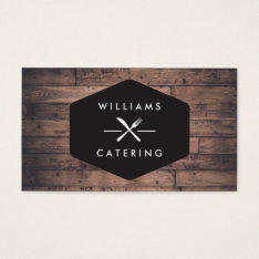 Rustic Distressed Wood Fork Knife Intersect Logo 2 Business Card at Zazzle