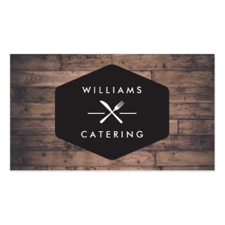 Rustic Distressed Wood Fork Knife Intersect Logo 2 Double-Sided Standard Business Cards (Pack Of 100)