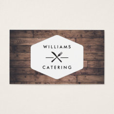 Rustic Distressed Wood Fork Knife Intersect Logo Business Card at Zazzle
