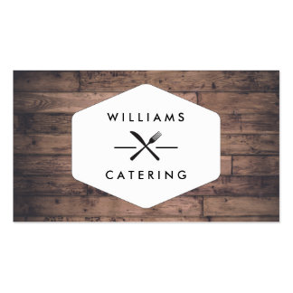 Rustic Distressed Wood Fork Knife Intersect Logo Double-Sided Standard Business Cards (Pack Of 100)