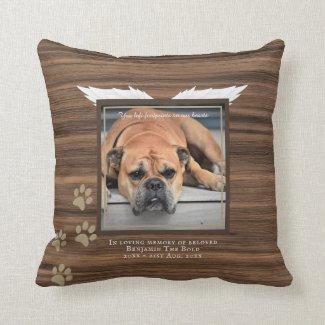 Rustic Dog Photo Memorial Keepsake Sympathy Gift Throw Pillow