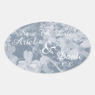 Rustic Dogwood Blossom Wedding Handfasting Grays Oval Sticker