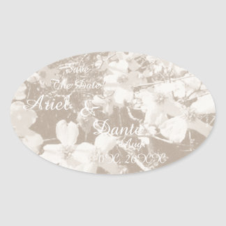 Rustic Dogwood Blossom Wedding Handfasting Lt Sep Oval Sticker