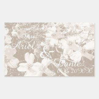 Rustic Dogwood Blossom Wedding Handfasting Lt Sep Rectangular Sticker