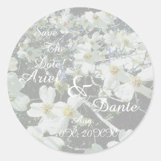 Rustic Dogwood Blossom Wedding Handfasting Pastel Classic Round Sticker