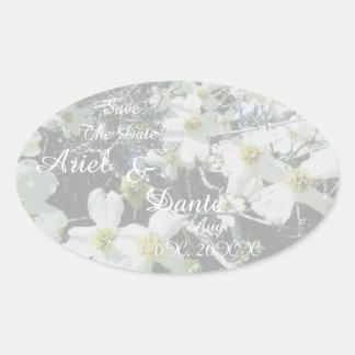 Rustic Dogwood Blossom Wedding Handfasting Pastel Oval Sticker