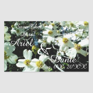 Rustic Dogwood Blossom Wedding Handfasting Rectangular Sticker