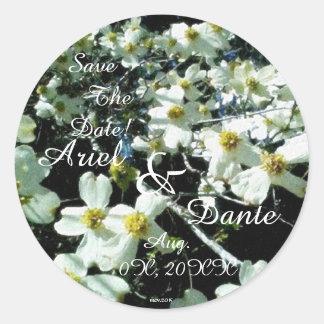 Rustic Dogwood Blossom Wedding Handfasting Vibrant Classic Round Sticker