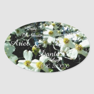 Rustic Dogwood Blossom Wedding Handfasting Vibrant Oval Sticker