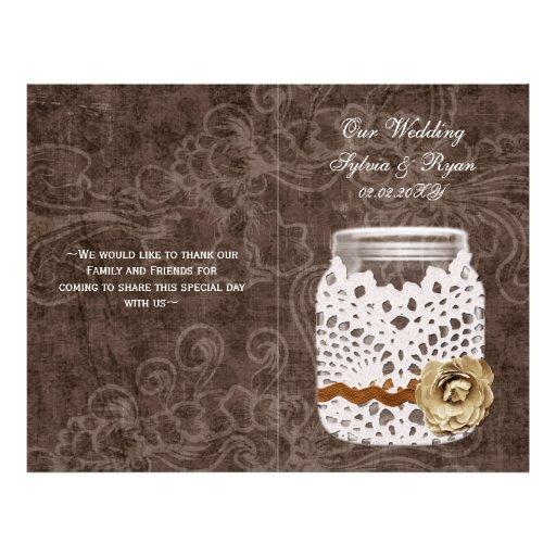 rustic doily mason jar book fold Wedding program Flyer Design