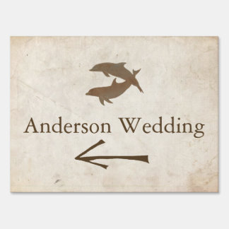 Rustic Dolphins Beach Wedding Driving Directions Sign