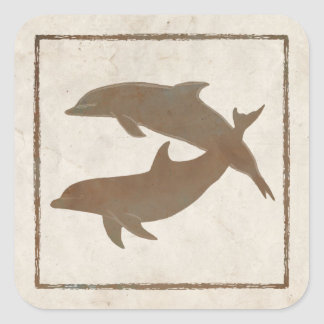 Rustic Dolphins Beach Wedding Envelope Seal Square Sticker