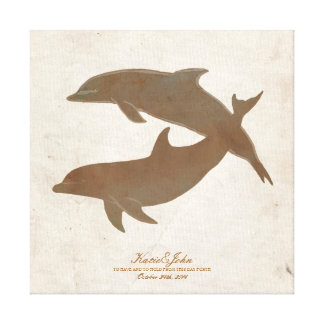 Rustic Dolphins Beach Wedding Guest Book Stretched Canvas Prints