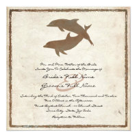 Rustic Dolphins Beach Wedding Invitation