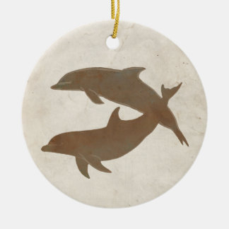 Rustic Dolphins Beach Wedding Christmas Ornaments
