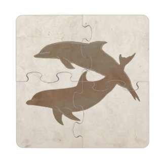 Rustic Dolphins Beach Wedding Puzzle Coaster