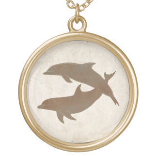 Rustic Dolphins Beach Wedding Round Pendant Necklace