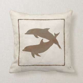 Rustic Dolphins Beach Wedding Throw Pillow