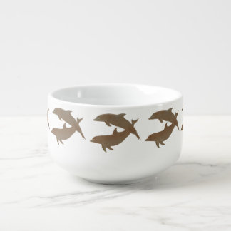 Rustic Dolphins Beach Wedding Soup Bowl With Handle
