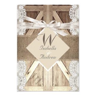 Rustic Door Wedding Beige Lace Wood Burlap Writing Card