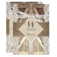 Rustic Door Wedding Beige Lace Wood Burlap Writing Invitation