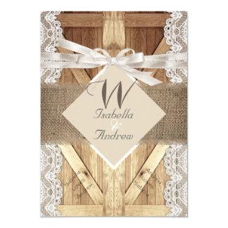 Rustic Door Wedding Beige White Lace Wood Burlap 2 Card