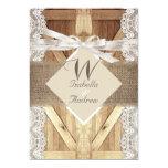 Rustic Door Wedding Beige White Lace Wood Burlap 5x7 Paper Invitation Card