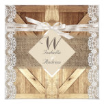 Rustic Door Wedding Beige White Lace Wood Burlap Card