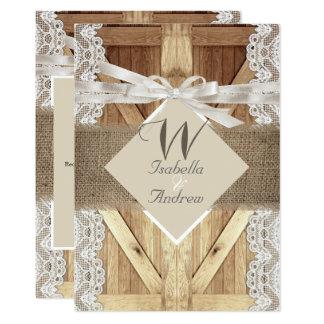 Rustic Door Wedding Beige White Lace Wood Burlap Invitation