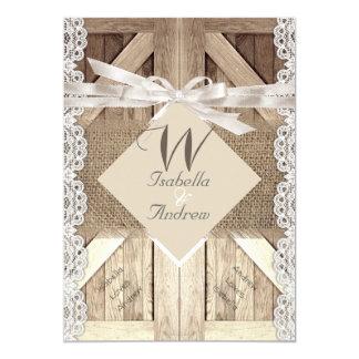 Rustic Door Wedding Lace Wood Burlap Writing 2a Card
